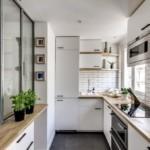 Узкая кухня Г-образной планировки