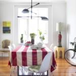 Полосатый текстиль в интерьере кухни