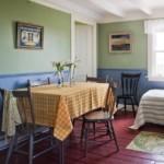 Крашенные доски деревянного пола кухни