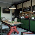 Старый промышленный стол в интерьере кухни