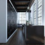 Узкая длинная кухня с большими окнами