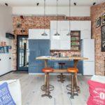 Дизайн квартиры-студии в индустриальном стиле