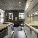 Бетонные поверхности в интерьере кухни