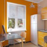 Маленькая кухня с желтыми стенами