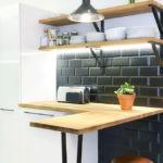 Кухонный фартук из темной плитки
