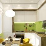Светло-зеленый фартук на кухне с выступом в стене