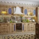 Линейный гарнитур для кухни в восточном стиле