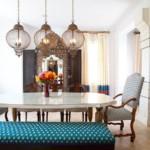 Светильники из тонкой проволоки над кухонным столом