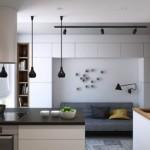 Дизайн кухни-гостиной с серым диваном