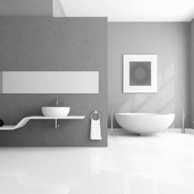 Дизайн ванной в сером и белом цветах