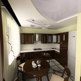 Двухуровневый потолок кухни в современном стиле