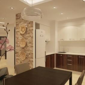 Точечные светильники на потолке кухни