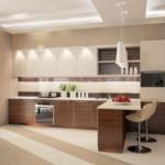 Освещение линейной кухни с полуостровом