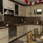 Дизайн небольшой кухни с техникой встроенного типа
