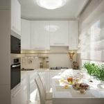 Обеденный стол перед кухонным окном