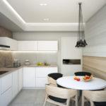 Обеденная зона кухни прямоугольной формы