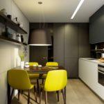 Желтые стулья в кухне с коричневым гарнитуром