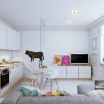 Белая кухня с небольшим диваном