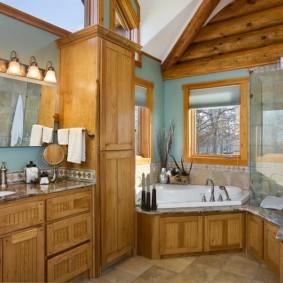 Дизайн ванной с мебелью из дерева