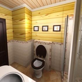 Темно-коричневая дверь в санузле частного дома