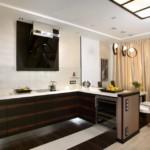 Дизайн кухни с полуостровом в частном доме