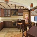 Дизайн угловой кухни с деревянной мебелью