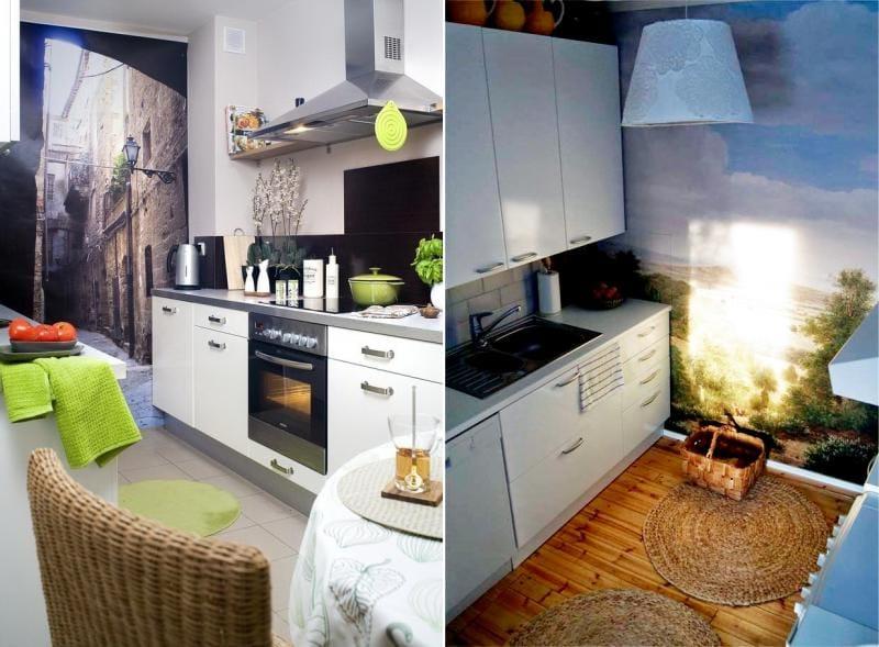 Варианты использования фотообоев в интерьере кухни 6 кв м