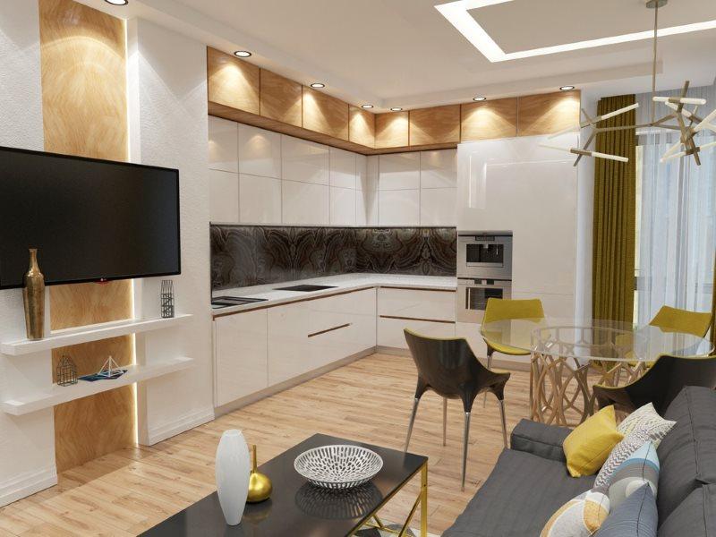 Угловая планировка кухни-гостиной