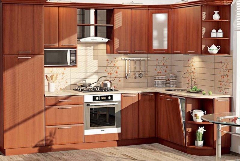 Кухонный гарнитур под дерево с правым углом