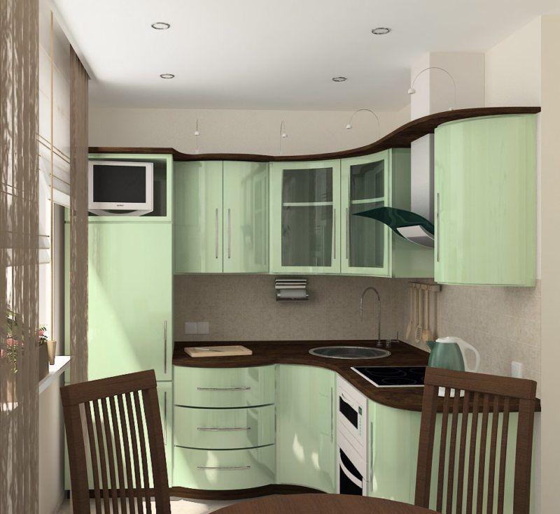 Компактный гарнитур зеленого оттенка в кухне хрущевки