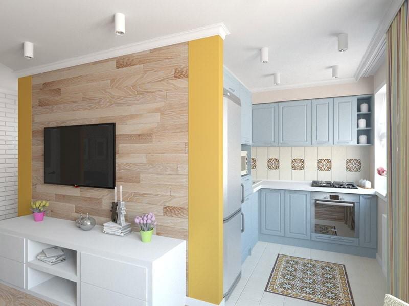 Деревянные панели на стене кухни-гостиной с телевизором
