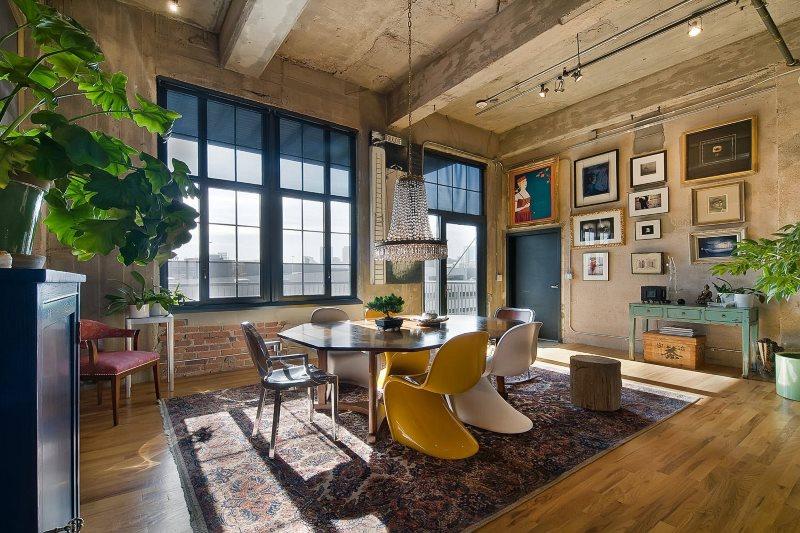 Дизайн гостиной в стиле эко-лофта