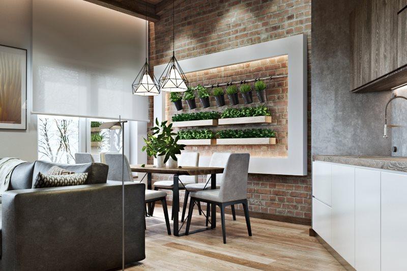 Кирпичная стена в кухне-гостиной эко-стиля