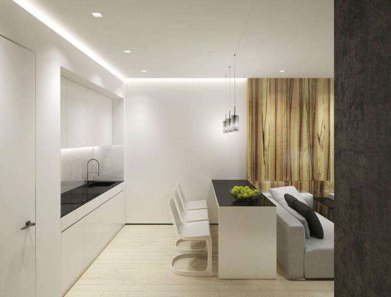 Рабочая зона кухни-гостиной в стиле минмализма