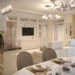 Белый диван по центру кухни-гостиной