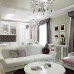 Зонирование кухни-гостиной с помощью дивана