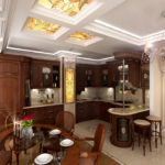 Витражи на потолке классической кухни-гостиной