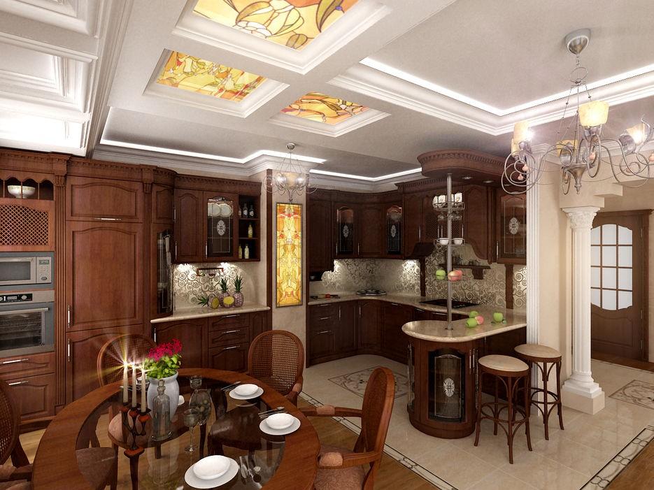 кухня гостиная в классическом стиле фото видеообзоре подробно рассмотрены