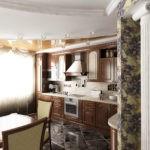 Колонна в интерьере кухни-гостиной
