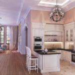 просторная кухня-гостиная с белым роялем