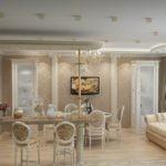 Классическая кухня-гостиная с барной стойкой