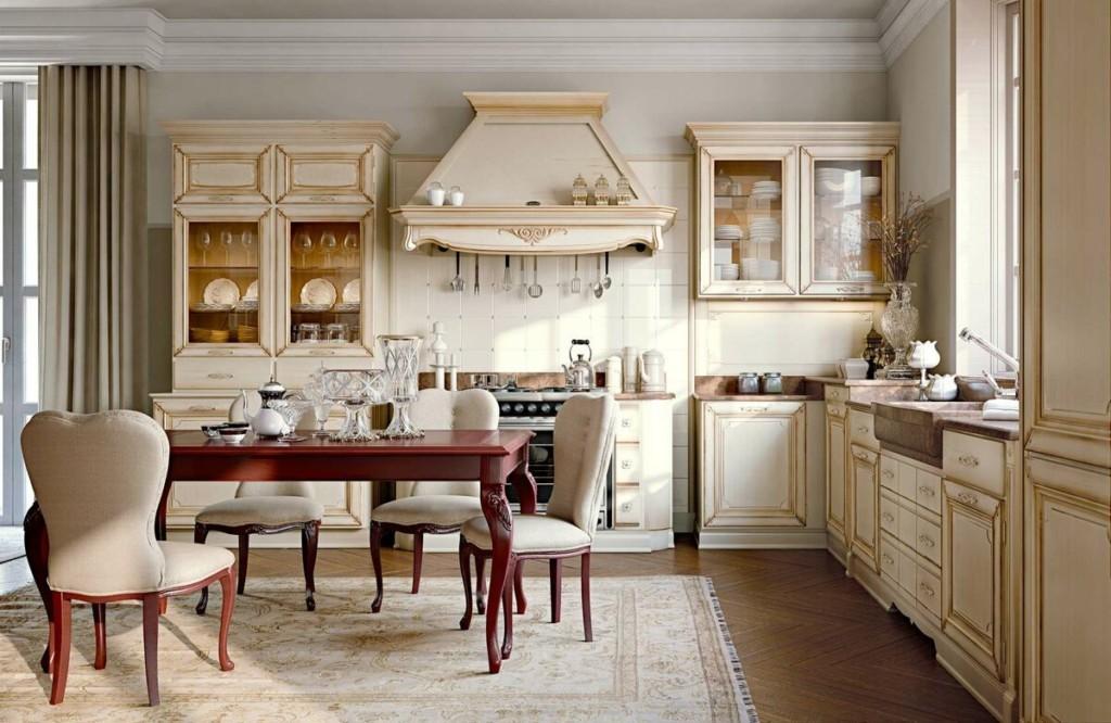 Угловая кухня с обеденным столом в стиле классика