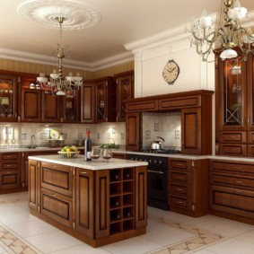 Портальная вытяжка в кухне с деревянным гарнитуром