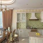 Дизайн кухни с коричневыми шторами