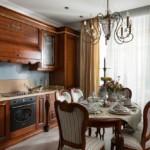 Коричневая мебель в классической кухне