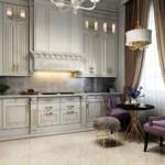 Кухонный гарнитур с фасадами до потолка