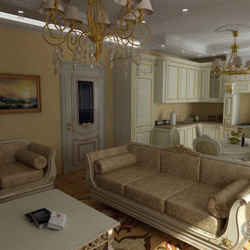Прямой диван в кухне-гостиной классического стиля