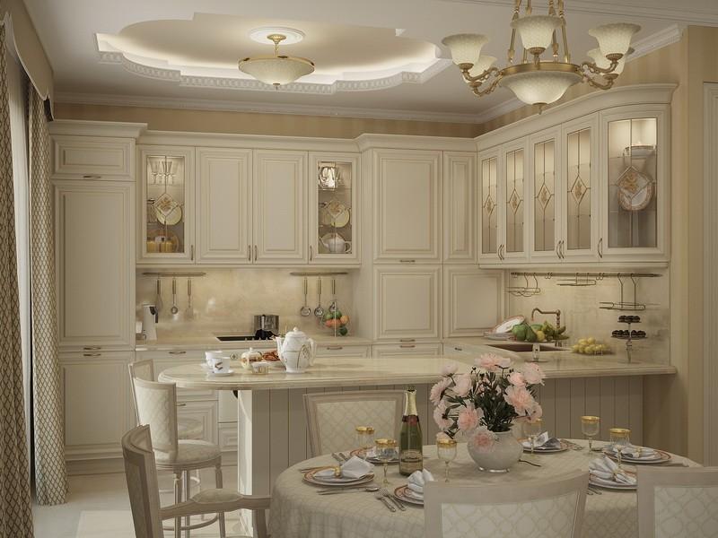 Дорогой кухонный гарнитур с подсветкой внутри шкафов