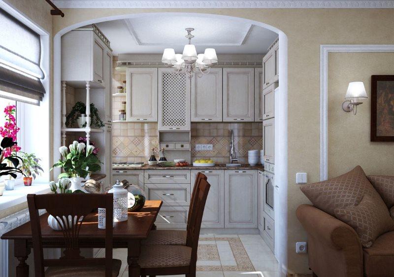 Кухня-гостиная хрущевки в классическом стиле