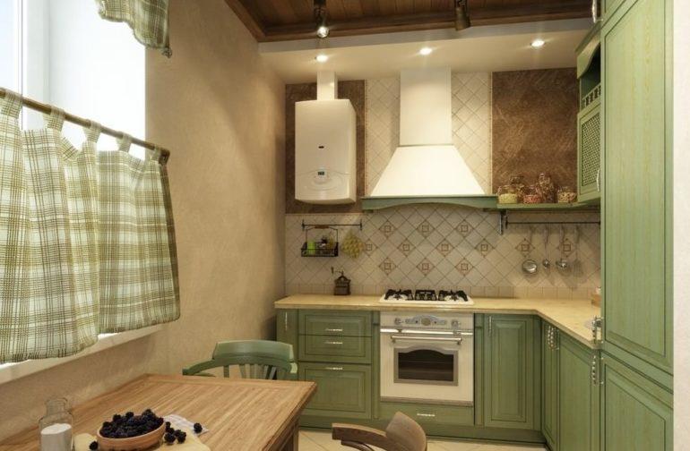 Интерьер кухни в стиле прованс с газовой колонкой